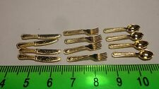 1:12 Scale 12 Piece Cutlery Set Gold Dolls House Miniature Accessories