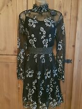 BNWT STUNNING LADIES LACE LOOK BLACK/SILVER DRESS WITH CAMI BY NEXT - UK 14-