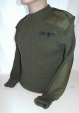 OLIVE GREEN WOOL PULLOVER CREW NECK JUMPER 88cm - 'PARKER' badge , British Army