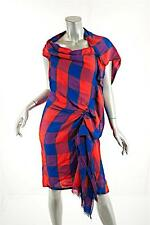 THAKOON Red/Blue Checker Pattern 100% Wool Asym DRESS w/Unfinished Edges-WOW-US8