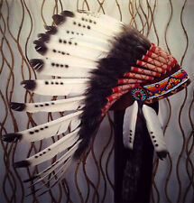 Three colors Black and White indian Feather Headdress