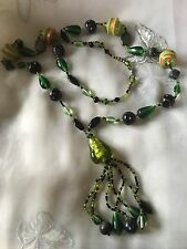 "Lovely Vintage Glass Beaded Necklace Mixed Greens 37"" Fixed Length Hippie Boho"