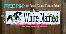 PIEBALD COB +BLACK MANE & TAIL Stable Sign printed on White Ali Metal not decal