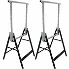 2X TELESCOPIC BUILDERS TRESTLES WORK BENCH FOLDING CARPENTRY DIY SAW HORSE