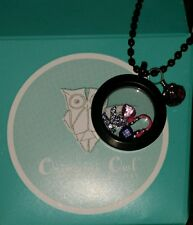 New in Box! Authentic Origami Owl Black Locket with Carms