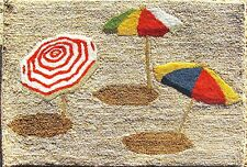 "Rug/Door Mat Hooked Out door Home Decor ""Beach Umbrellas"""