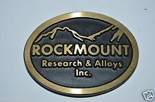 WOW Vintage ROCKMOUNT Research & Alloys Inc Solid Brass Belt Buckle Rare WA