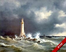 Eddystone Lighthouse Ocean Seascape REAL CANVAS GICLEE 8X10 ART PRINT