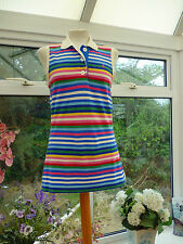 FABULOUS *JOULES* *CHEEKY* MULTI-COLOURED STRIPED SLEEVELESS POLO TOP Sz 14