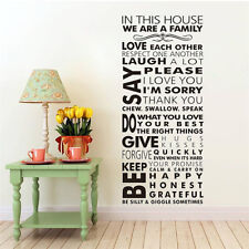 "50"" In this house family rules vinyl wall sticker bedroom home decal art quotes"