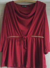 Nina Leonard red stud trim long sleeved top size m 12 to 14. New
