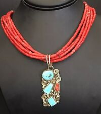 Navajo Sterling Silver  Coral Bead Necklace /  Turquoise  Could Pendant