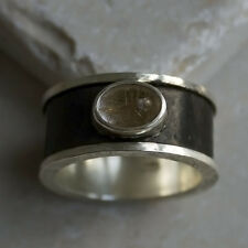 HAMMERED STERLING SILVER 925 MEN'S RING BLACK WITH GOLD RUTILE QUARTZ SIZES 5-12
