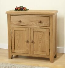 SOLID CHUNKY WOOD RUSTIC OAK SMALL COMPACT SIDEBOARD CUPBOARD CABINET