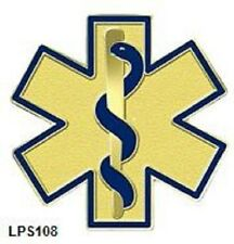 Blue Star of Life Lapel Pin EMT EMS  Cloisonne Multi-Colored Gold Plated 108 New