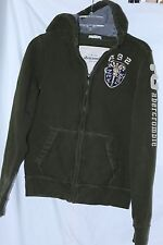 Abercrombie Kids Muscle sz XL Zipper Hoodie Sweatshirt Olive Green distressed