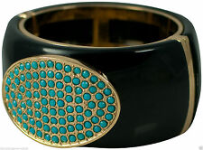 BLACK/TURQUOISE LARGE MAGNETIC CUFF BRACELET  OR WHITE/CRYSTAL