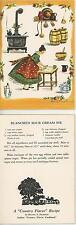 VINTAGE CAST IRON STOVE TEAPOT BUTTER CROCK SOUR CREAM PIE RECIPE CARD ART PRINT