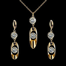 Women 18k Gold Plated Crystal Jewelry Set Necklace Earrings Wedding Accessories