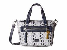 FOSSIL DAWSON $148 Fabric Grey Blue Dots Canvas Satchel Crossbody Bag ZB6593 NEW