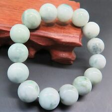 Natural Grade A Jade (jadeite) 13mm Spotted Green Bead Bracelet Good Luck
