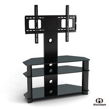 "Cantilever Tempered Glass Black w/Bracket TV Stand for 37""-42"" Plasma LCD TV"