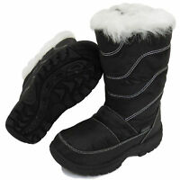 BOYS Girls BLACK Fur-Lined PULL-ON Mid-Calf ANKLE Snugg WINTER BOOT UK Kid 10-3