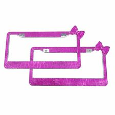 2 Deep Pink Bling Glitter Crystal RhineStone License Plate Frame Car Auto