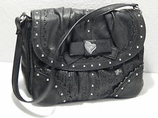 GUESS - Black Leather Handbag - 3 Separate Compartments - Studded - Bow & Heart