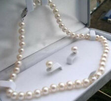 "7-8mm Natural White Akoya Cultured Pearl Necklace Earrings Jewelry Set 18"" AA+"