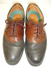 I.E. with NIKE AIR Mens Black Brown Two-Tone Leather Wing Tip Oxford Shoe 8