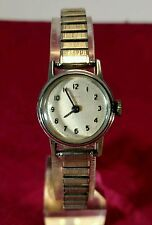 Vtg Women's TIMEX Silver Tone Mechanical Watch Runs NICE