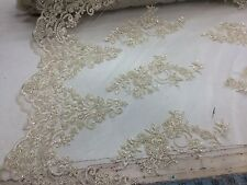 Elagant Dk.Ivory Hand Beaded Mesh Lace.Wedding/Bridal Fabric.36x50inches.