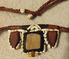 Haute Volta AFRICA Leather Laced Fur On Braided NECKLACE from 1931