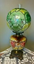 Vintage Hurricane Gone with the Wind Lamp Hand Painted Victorian Roses Floral