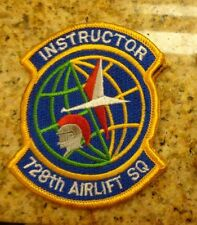 USAF FLIGHT SUIT PATCH,728TH AIRLIFT SQUADRON,INSTRUCTOR,W/ VELCR,WHITE LETTERS