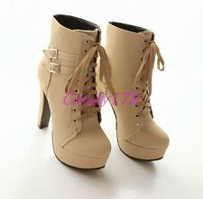 New Womens Ankle Boots Faux Suede Lace Up Block High heel Casual Shoes Plus Size