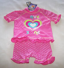 Wavezone Girls Pink Hearts Printed Rash Vest & Swim Short Set Size 00 New
