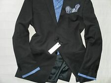 NWT VERSACE COLLECTION Men's Black Striped Two-Button 100% Wool Suit 42R 35W