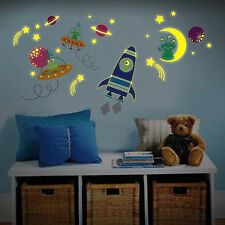 Glow in Dark Moon Rocket Ship, Space Ships and Aliens Kids Nursery Wall Sticker