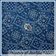 BonEful Fabric FQ Cotton Quilt Blue B&W Paisley Country Western Cow*Boy Bandanna