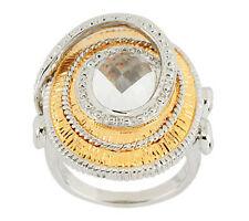 Studio Sterling Two-tone Sterling Silver 3.50 ct White Topaz Ring Size 7 QVC