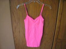 Victoria Secret Neon Pink Stretch Camisole XS Lace Trim Adjustable Straps EUC