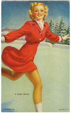A GOOD SKATE GIL ELVGREN CHEESECAKE PIN-UP Mutoscope Card (1940's) RARE