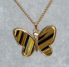 Vintage 1960's TRIFARI Crown Faux Tiger Eye Butterfly Goldtone Pendant Necklace