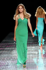 VERSACE Green long grecian 2008 plaited open back detail dress 42 , UK 10