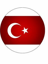 15x TURKISH FLAG 40mm Rice Paper Cup Cake Fairy Toppers TURKEY