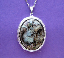 Porcelain GRAY SQUIRREL FAMILY CAMEO Costume Jewelry ST Locket Pendant Necklace