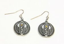 Egyptian Cartouche Amulet Open Wings Round Dangling Earrings Jewelry