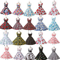 VINTAGE RETRO 50s STYLE FULL CIRCLE FLARED SWING PINUP HALTER DRESS FLORAL PRINT